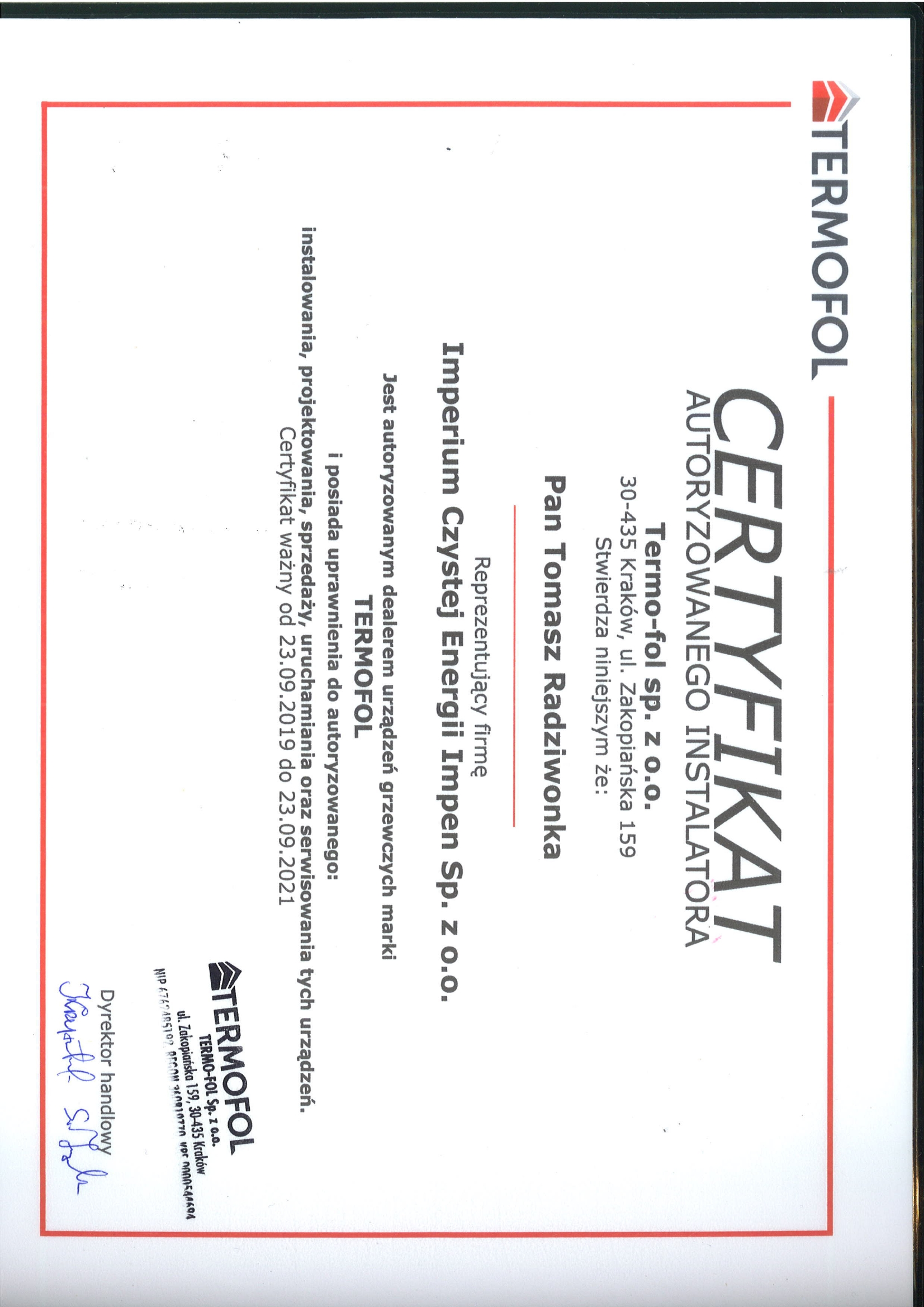Certyfikat - TERMOFOL
