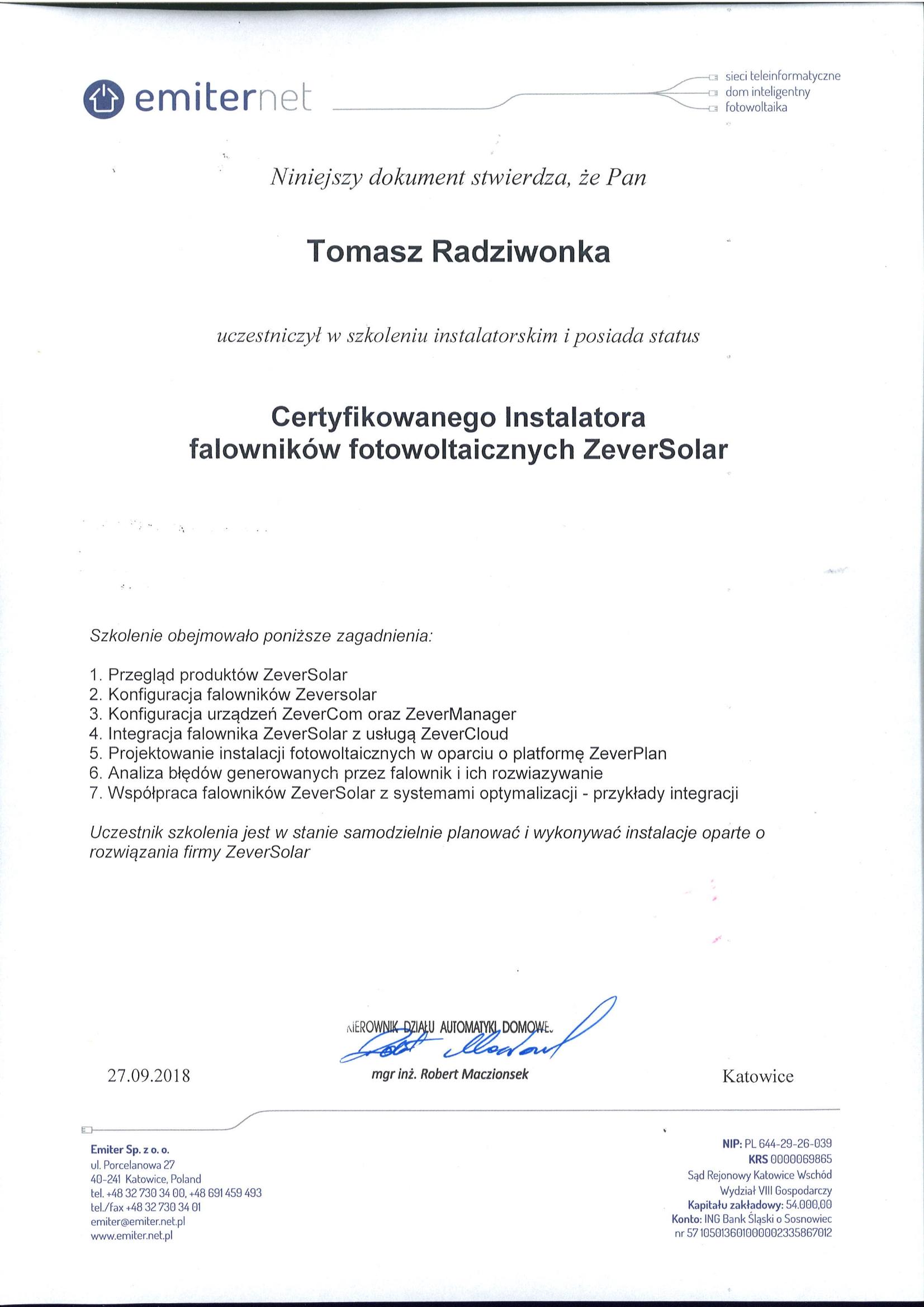 Certyfikat - EMITER