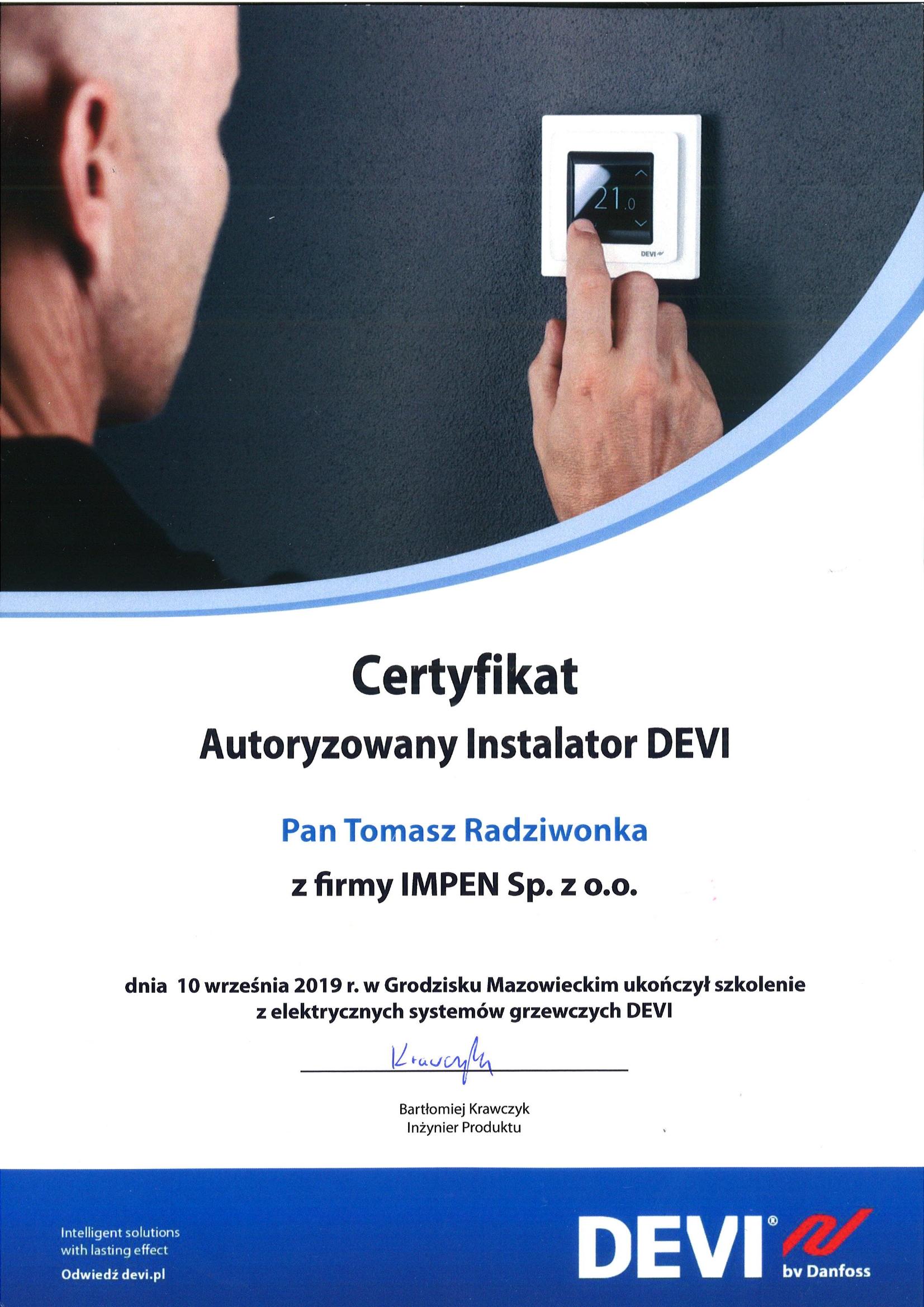 Certyfikat - Autoryzowany Instalator DEVI