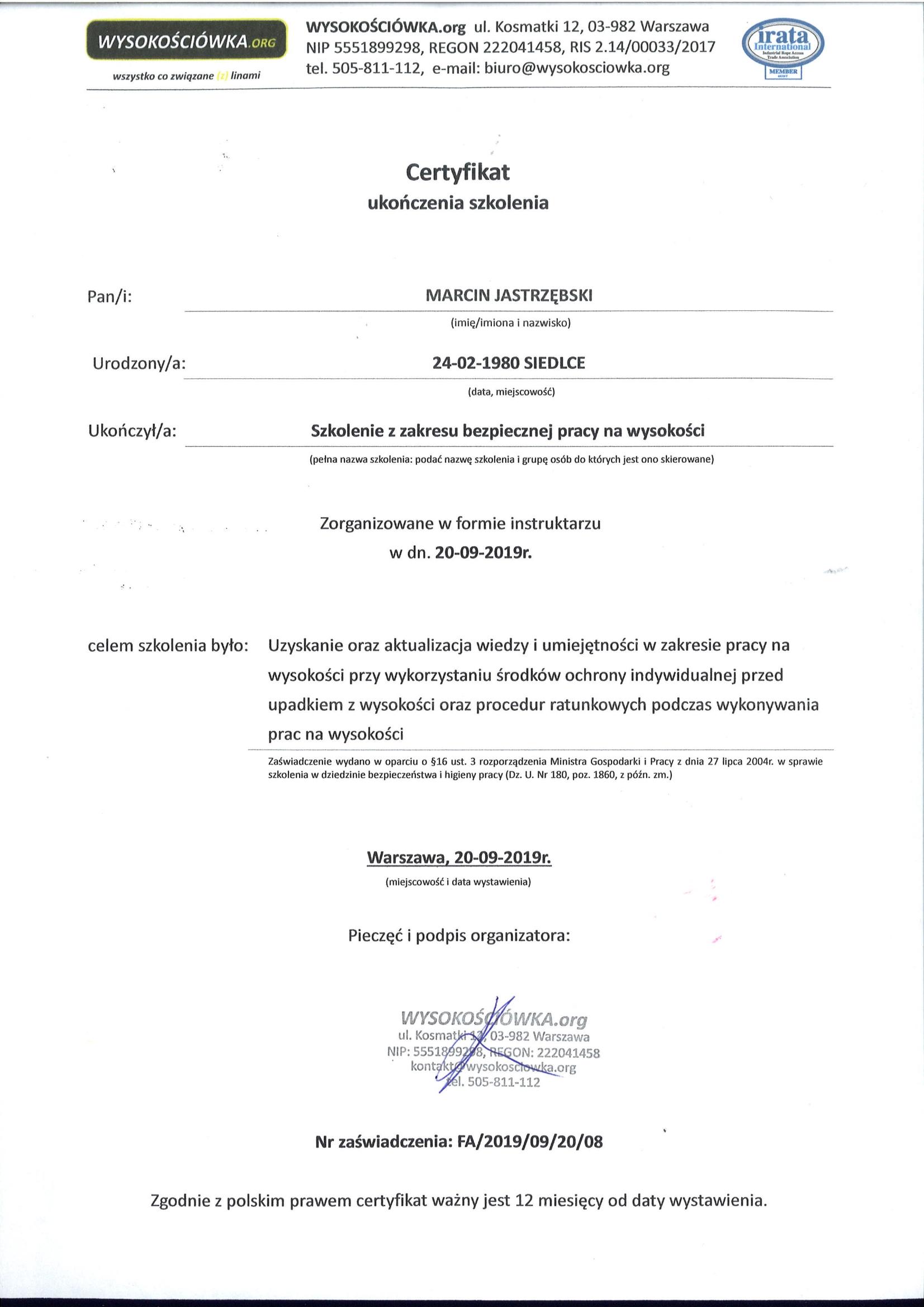 Certyfikat - Wysokościówka.org